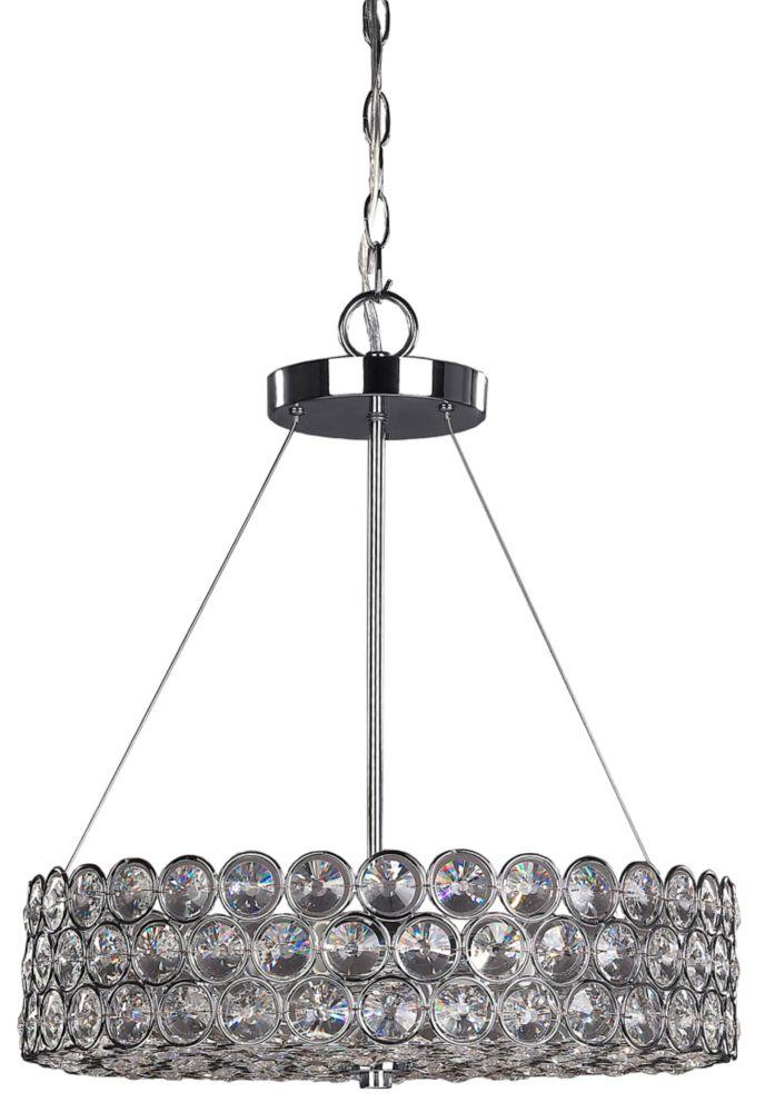 Alice 3 lumière lustre chrome avec cristaux