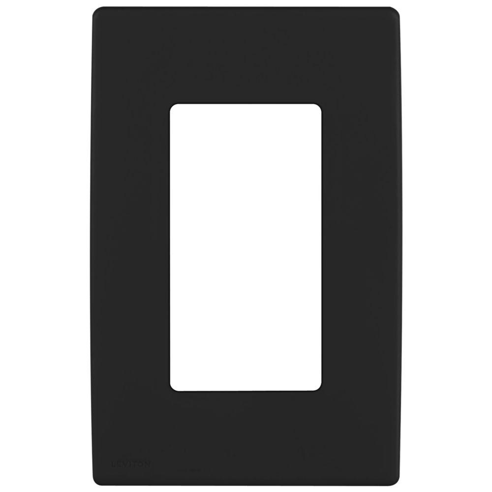 Plaque murale sans vis enclipsable Renu REWP1-OB de Leviton pour un dispositif, en noir Onyx