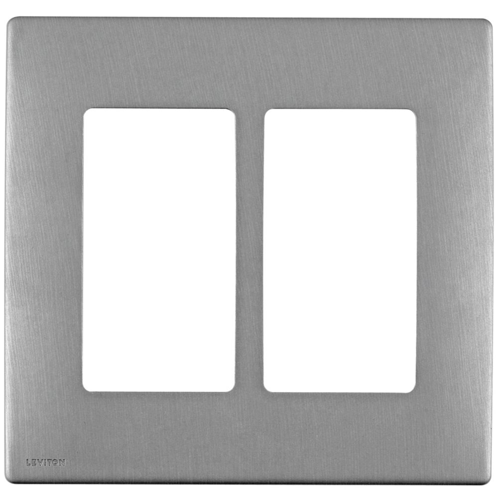 Leviton Renu 2-Gang Screwless Snap-On Wallplate REWM2-STS, in Stainless Steel Style