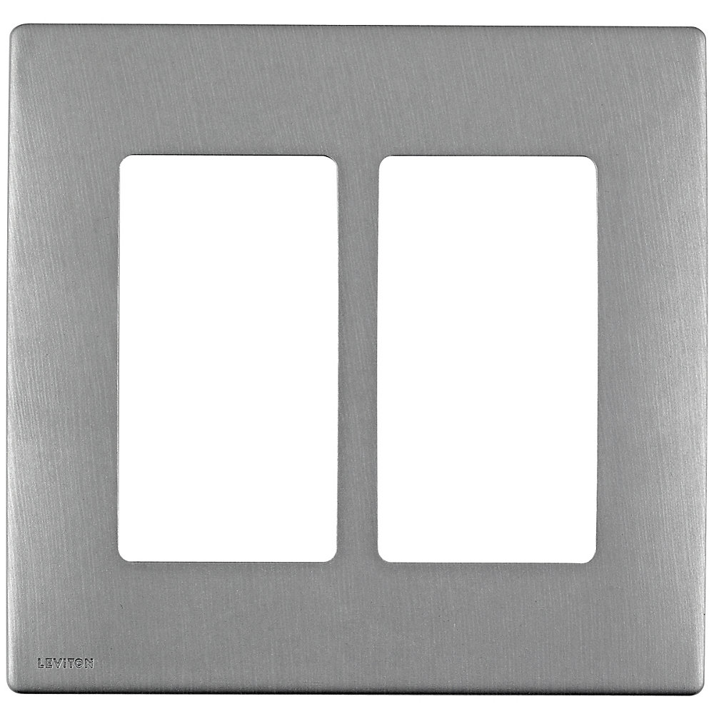 Leviton Renu 2-Gang Screwless Snap-On wall plate REWM2-STS, in Stainless Steel Style
