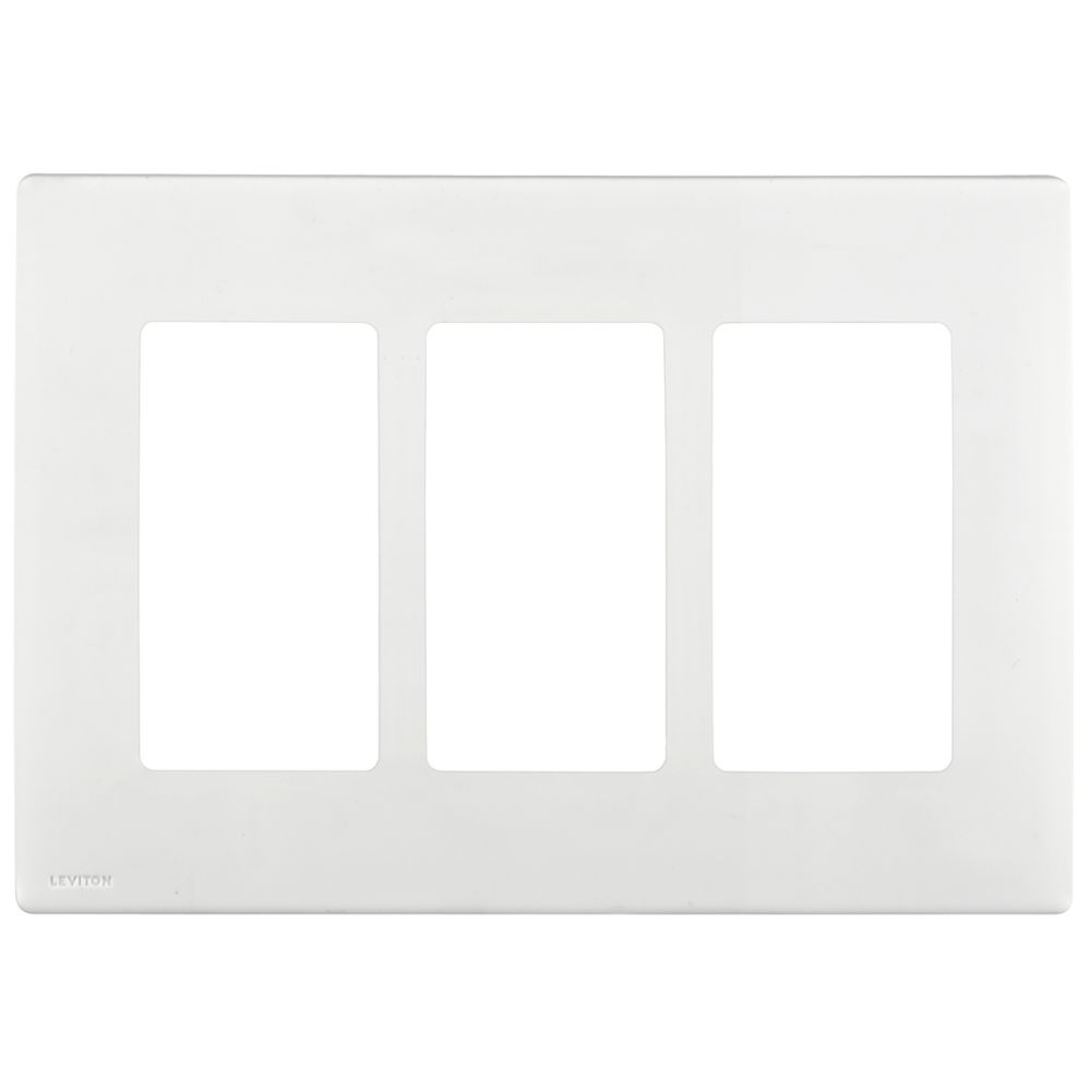 Leviton Renu 3-Gang Screwless Snap-On Wallplate REWP3-WW, in White on White REWP3-722 in Canada