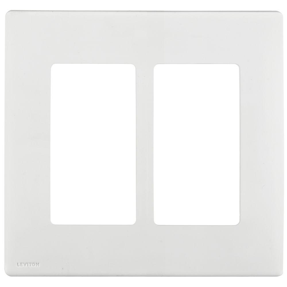 Leviton Renu 2-Gang Screwless Snap-On Wallplate REWP2-WW, in White on White