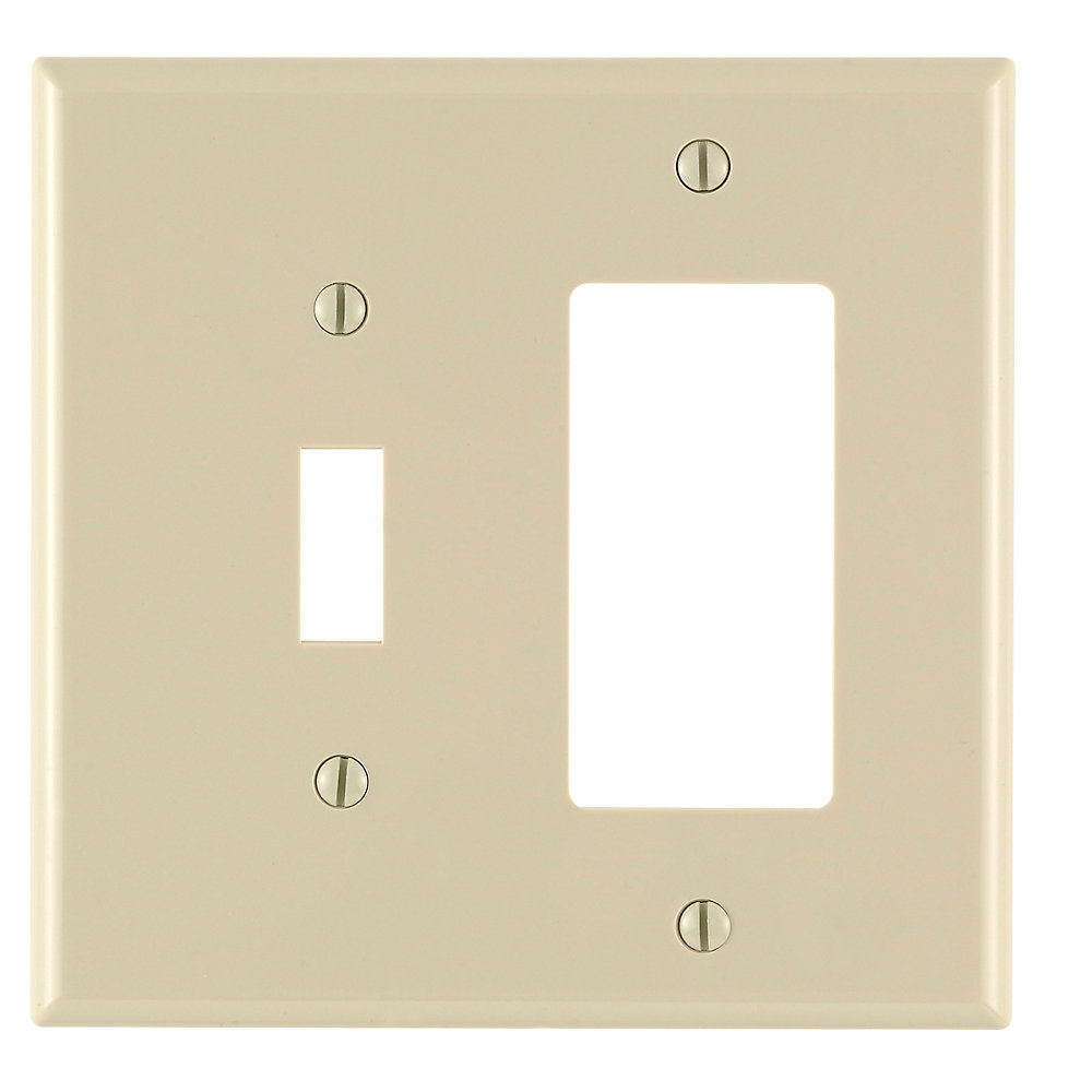 2-Gang Midway Nylon Combination Wall Plate for 1 Toggle Switch & 1 Decora Device, in Ivory
