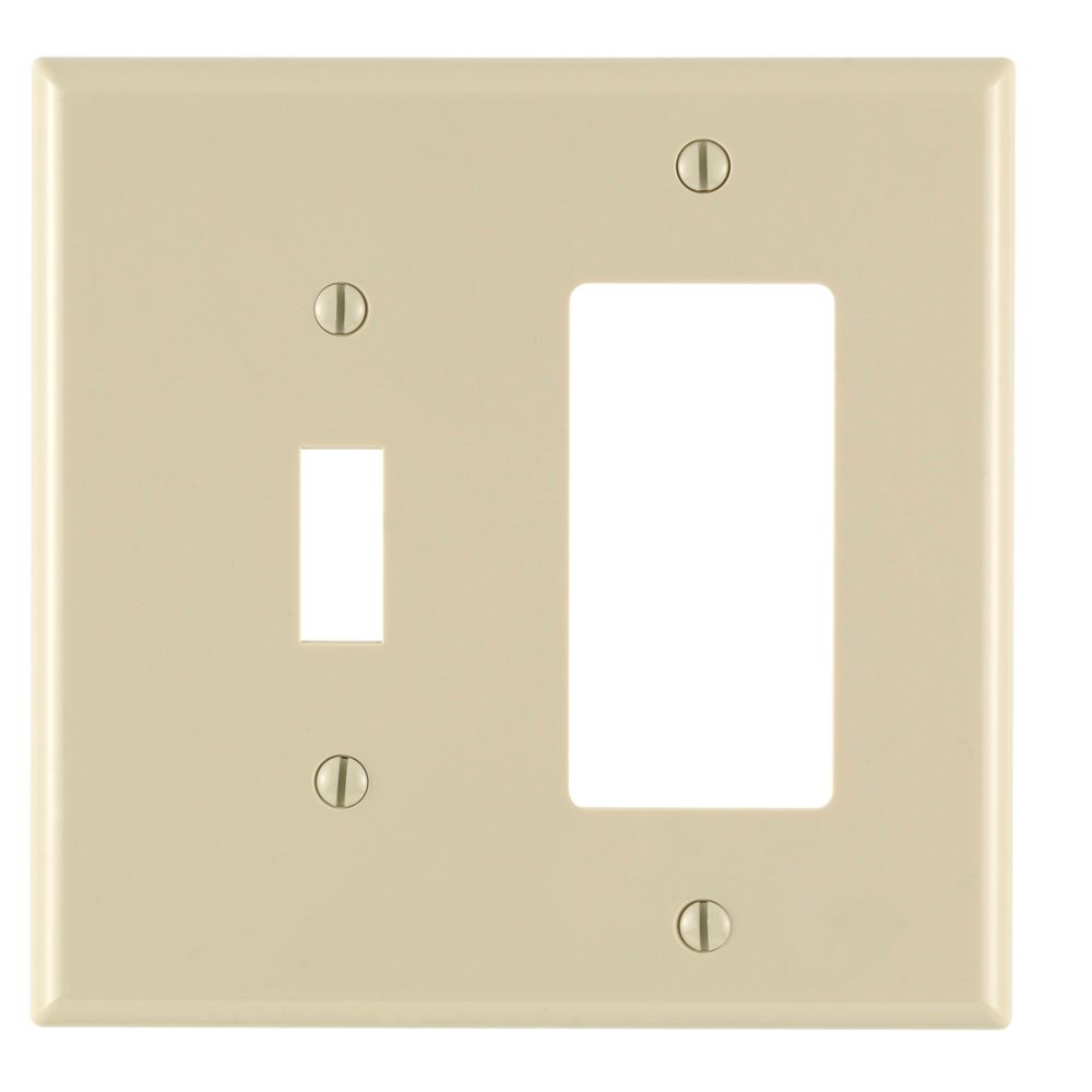 2-Gang Midway Nylon Combination Wallplate for 1 Toggle Switch & 1 Decora Device, in Ivory