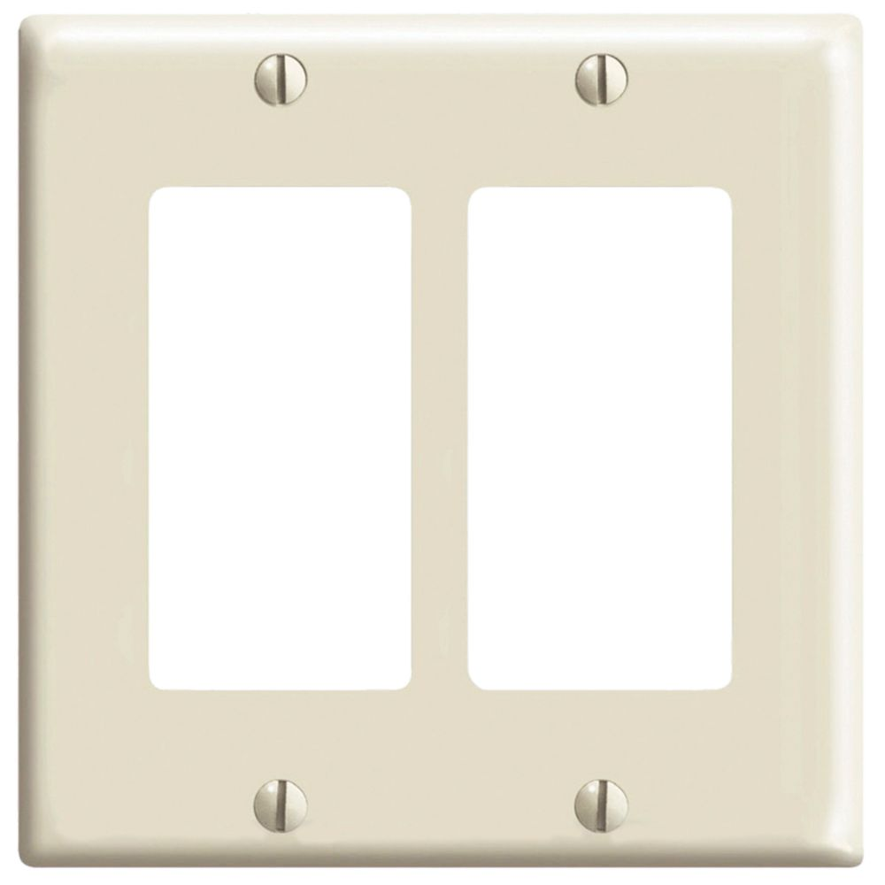 Decora 2-Gang wall plate, in Light Almond
