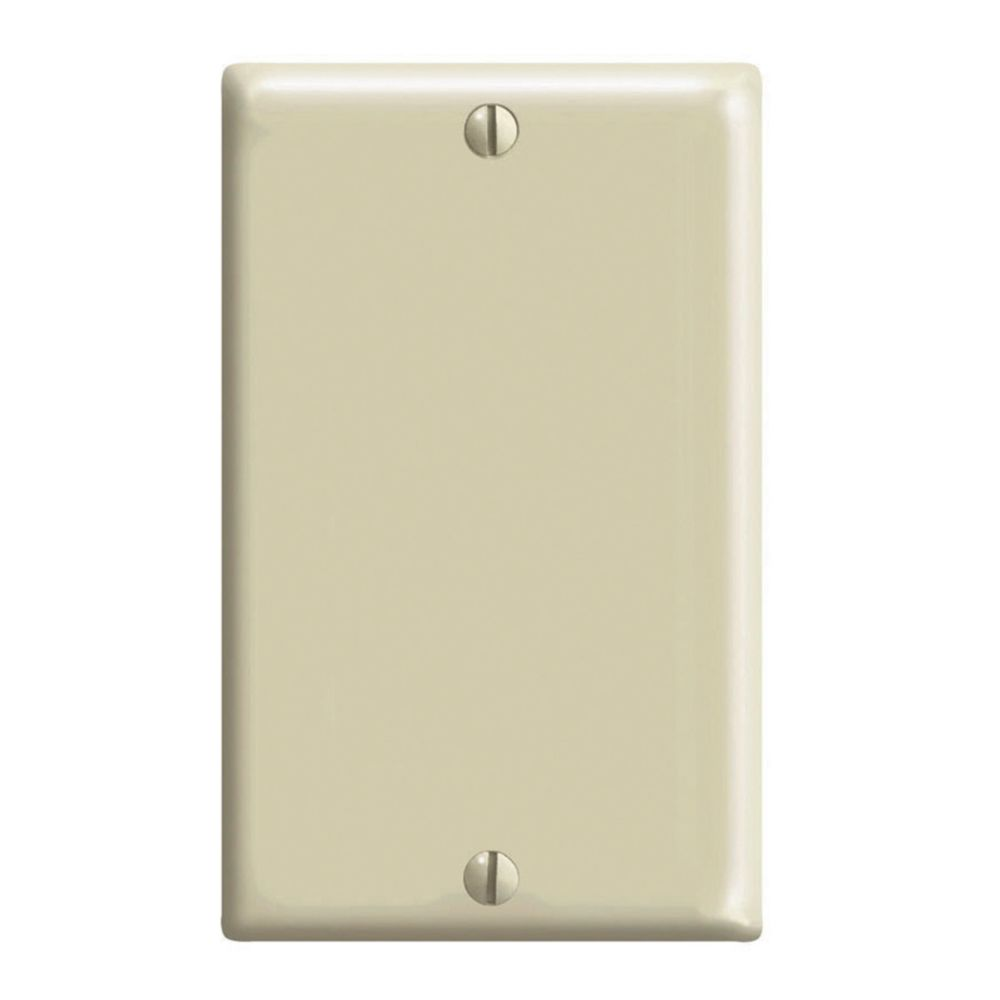 1-Gang Midway Nylon Blank Wallplate, in Ivory