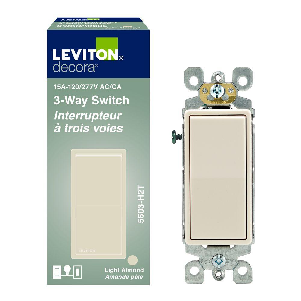 Decora Rocker Switch 3-Way 15A-120V, in Light Almond