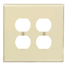 2-Gang Midway Nylon Duplex Receptacle wall plate, in Ivory
