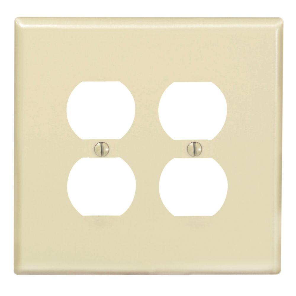 2-Gang Midway Nylon Duplex Receptacle Wallplate, in Ivory