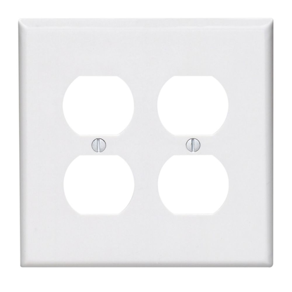 2-Gang Midway Nylon Duplex Receptacle Wallplate, in White 0PJ82-R52 in Canada