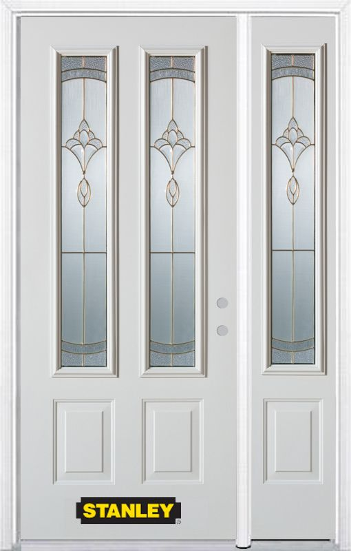 48-inch x 82-inch Karina 2-Lite 2-Panel White Steel Entry Door with Sidelite and Brickmould