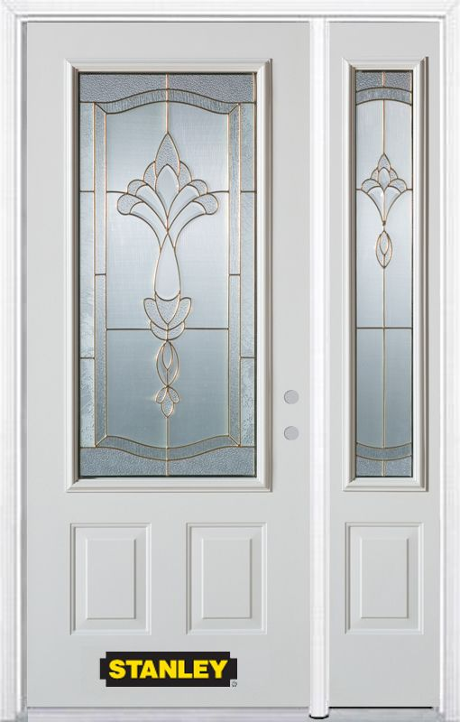 Stanley Doors 52.75 inch x 82.375 inch Karina Brass 3/4 Lite 2-Panel Prefinished White Left-Hand Inswing Steel Prehung Front Door with Sidelite and Brickmould