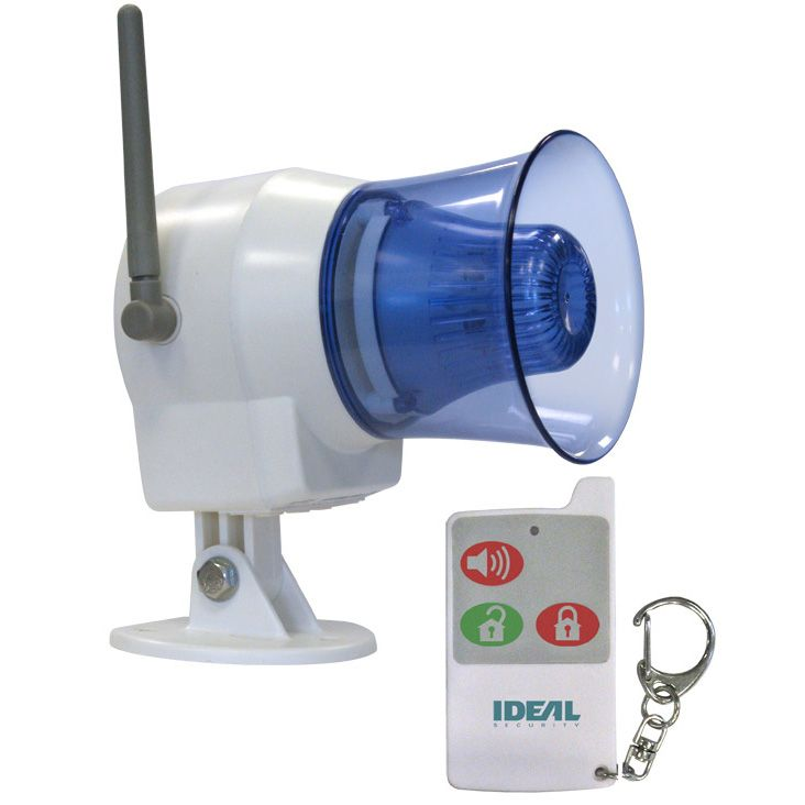 Ideal Security Wireless Indoor Outdoor Siren With Remote Control