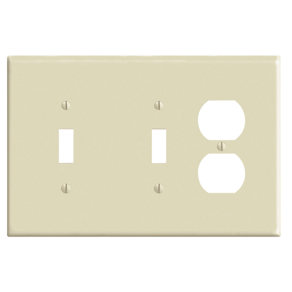 3-Gang Midway Nylon Combination Wallplate for 2 Toggle Switches & 1 Duplex Receptacle, in Ivory