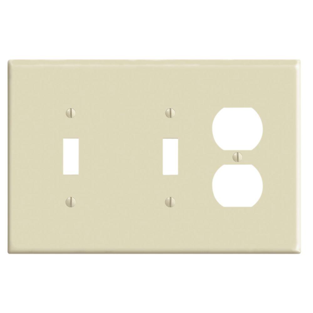 Plaque murale combinée de format intermédiaire en nylon pour deux interrupteurs à bascule et une ...