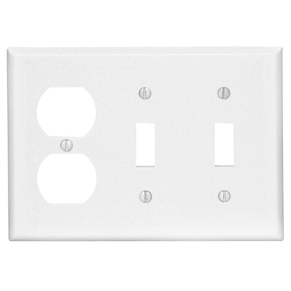 Plaque murale  combinée de format intermédiaire en nylon pour deux interrupteurs à bascule et une...