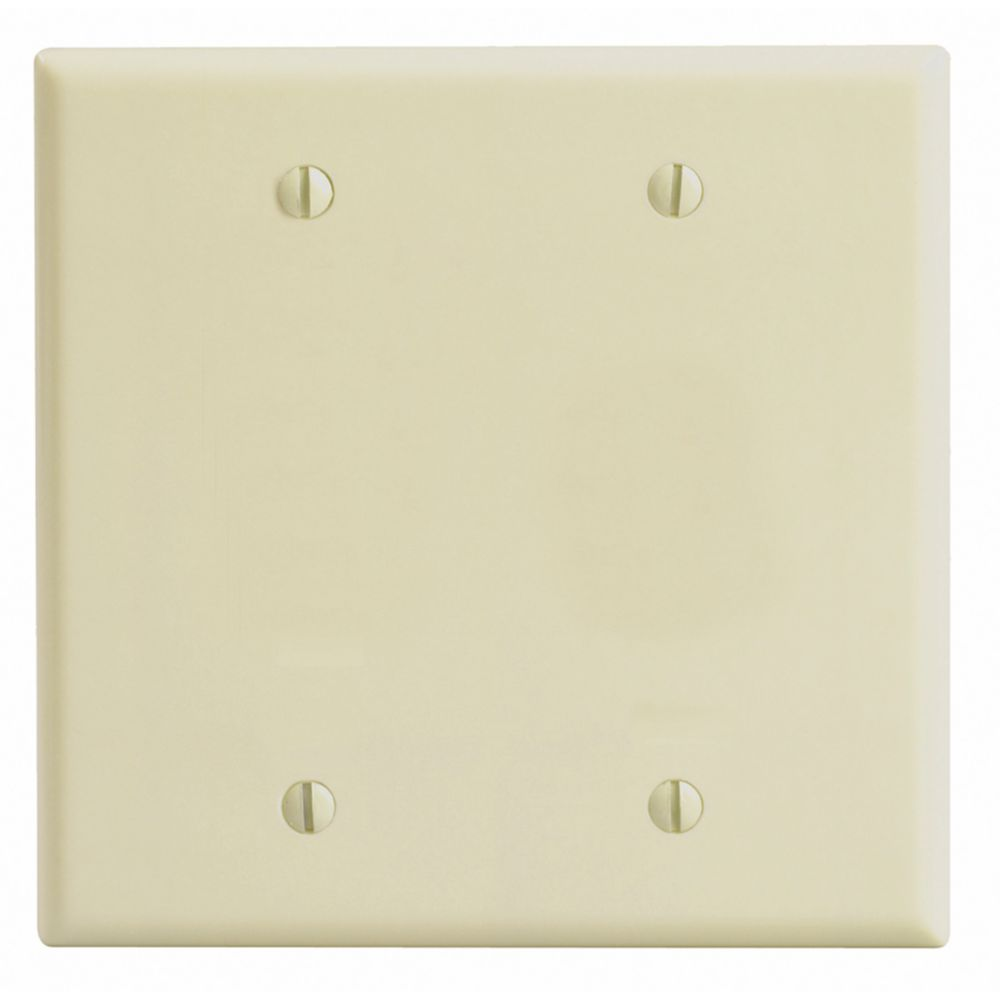 2-Gang Midway Nylon Blank Wallplate, in Ivory