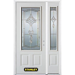 Stanley Doors Porte dentrée en acier préfini en blanc, munie de deux panneaux et dun 3/4 verre, 49 po x 82 po avec panneaux latéraux et moulure de brique