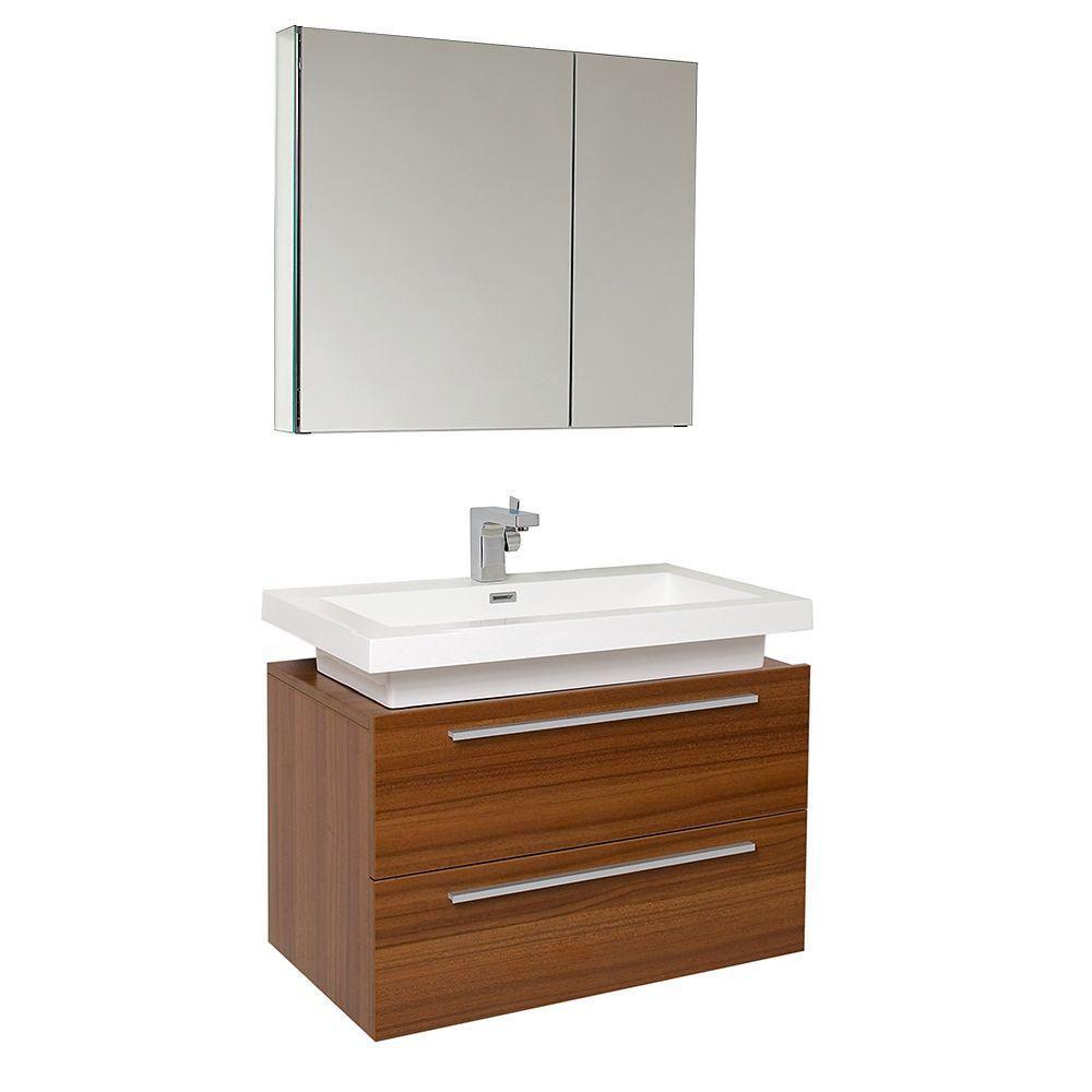 Medio Meuble-lavabo de salle de bains moderne teck avec armoire à pharmacie
