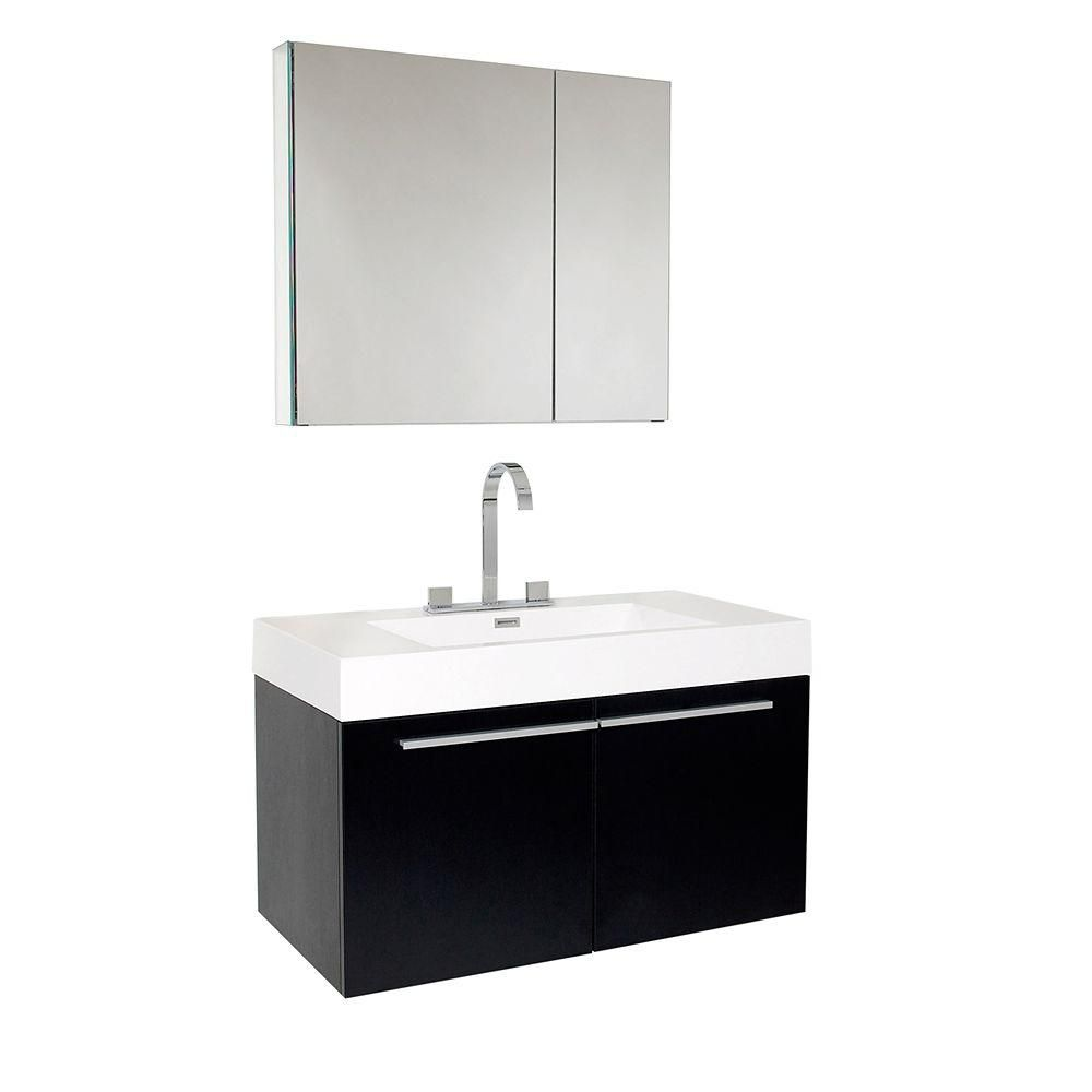 Fresca Vista 35.38-inch W 1-Drawer Wall Mounted Vanity in Black With Acrylic Top in White With Faucet