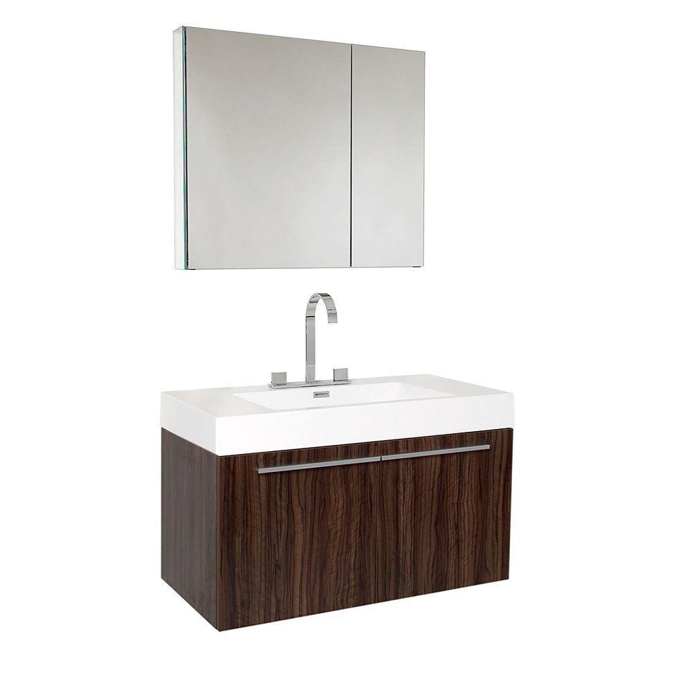 Vista Meuble-lavabo de salle de bains moderne noyer avec armoire à pharmacie