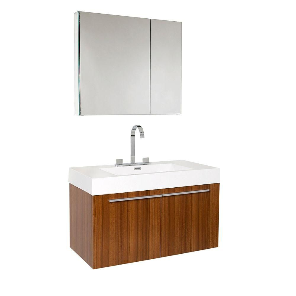 Vista 35 1/2-inch W Vanity in Teak Finish with Medicine Cabinet