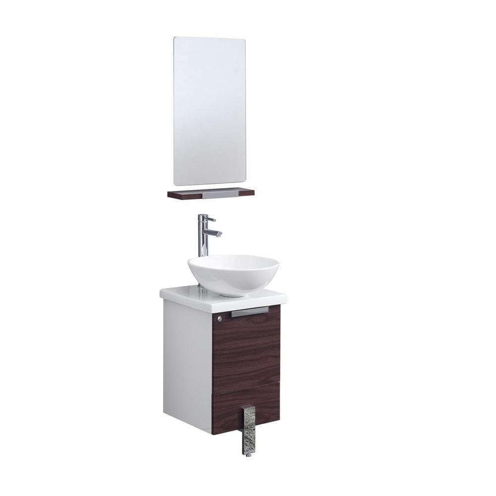 Adour Meuble-lavabo de salle de bains moderne 16 po noyer foncé avec miroir