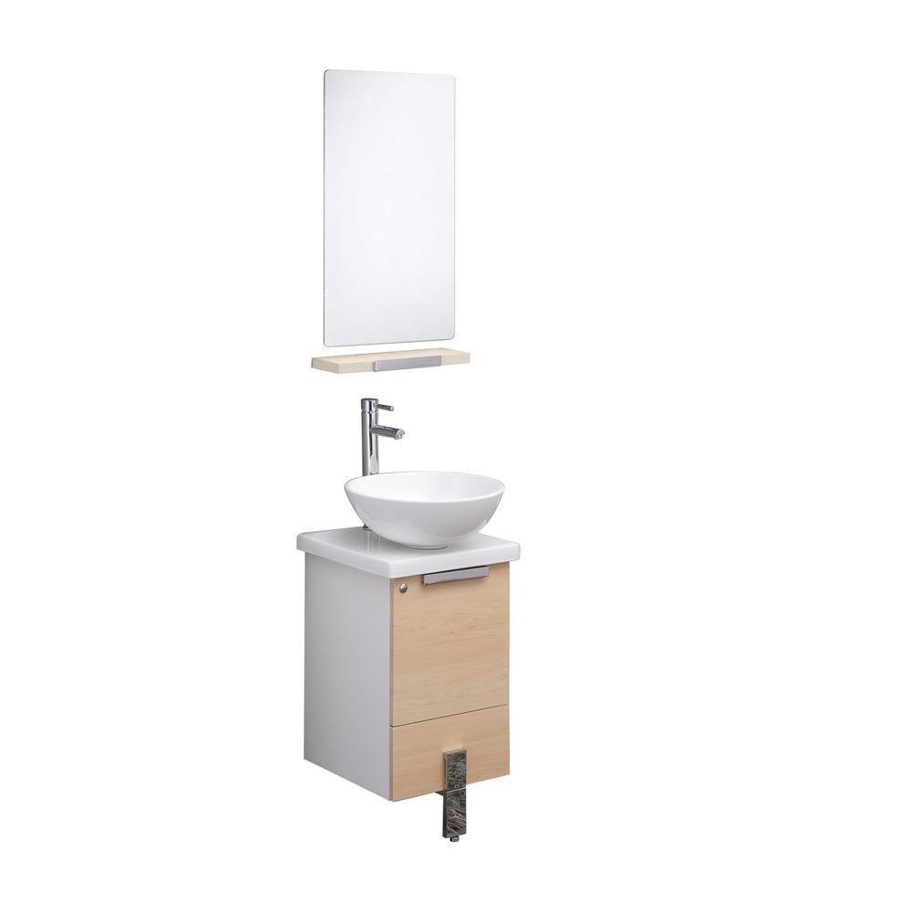 Adour Meuble-lavabo de salle de bains moderne 16 po noyer clair avec miroir
