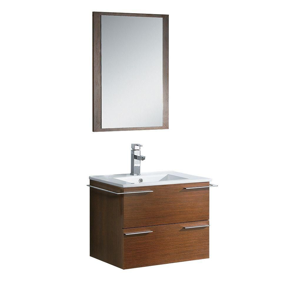 Cielo 24 Inch Wenge Brown Modern Bathroom Vanity With