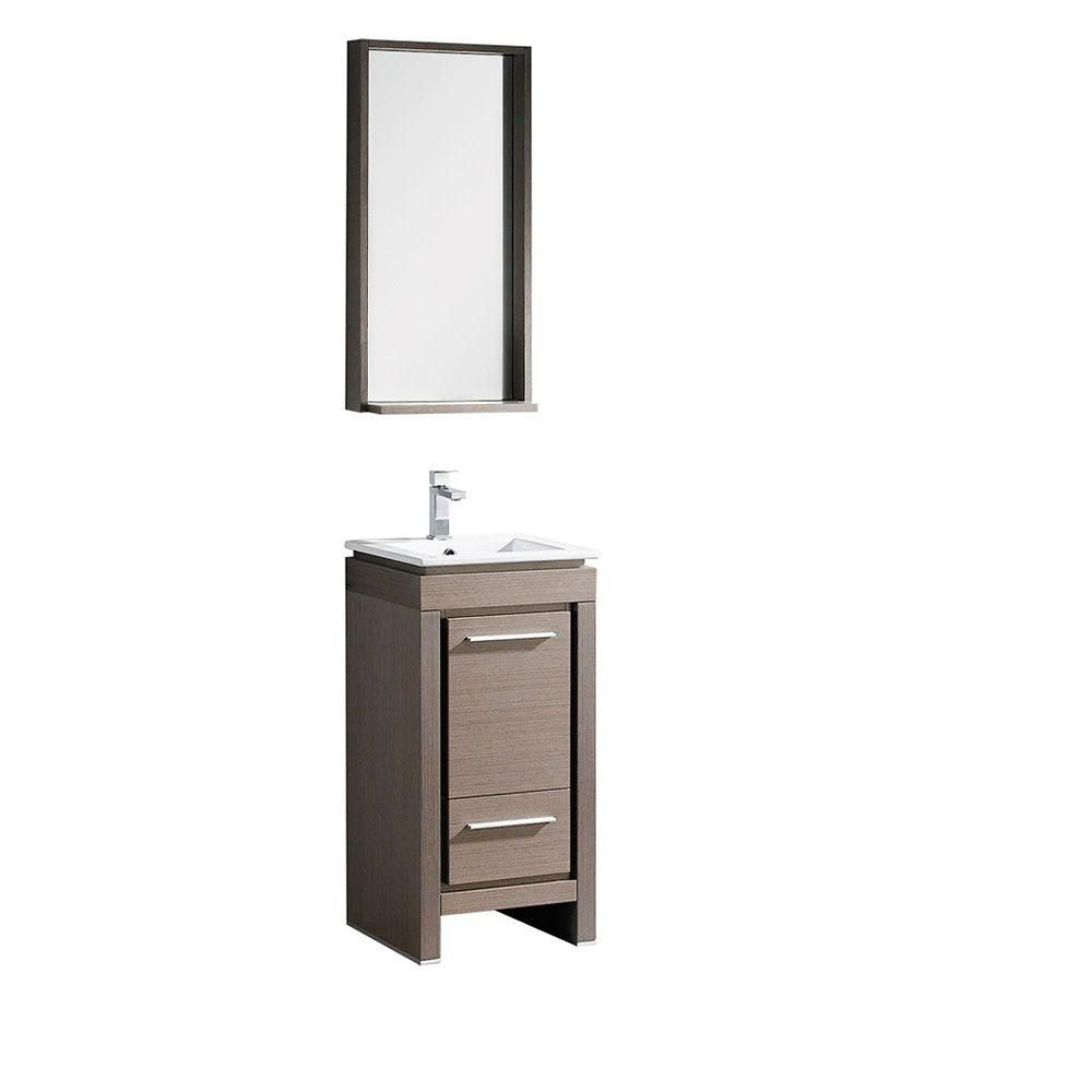 fresca allier petit meuble lavabo de salle de bains moderne en ch ne gris avec miroir home. Black Bedroom Furniture Sets. Home Design Ideas