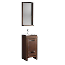 Fresca Allier 15.75-inch W 1-Drawer 1-Door Vanity in Brown With Ceramic Top in White With Faucet And Mirror