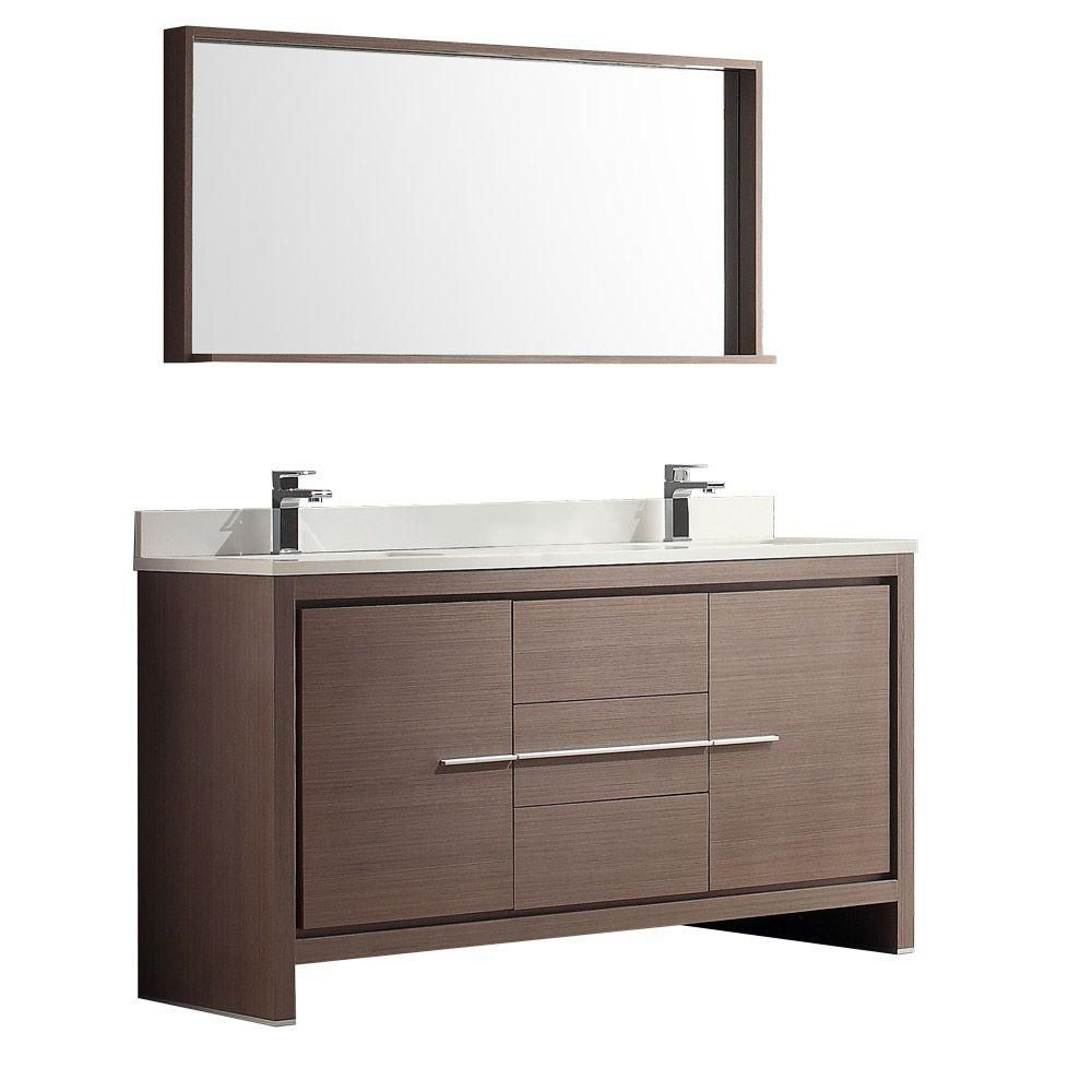Fresca Allier 60 Inch Gray Oak Modern Double Sink Bathroom Vanity With Mirror The Home Depot