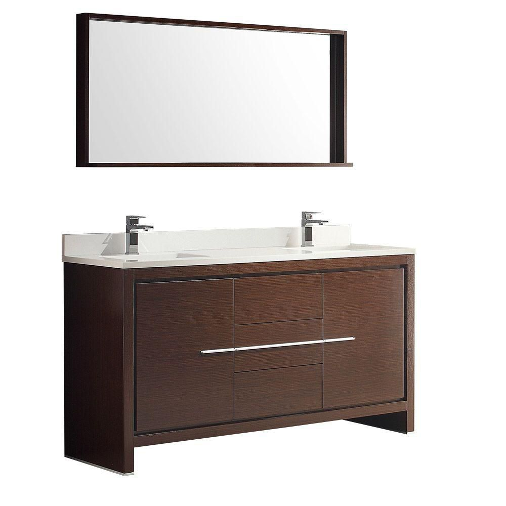 Fresca Allier 60-inch W 3-Drawer 2-Door Vanity in Brown With Ceramic Top in White, Double Basins