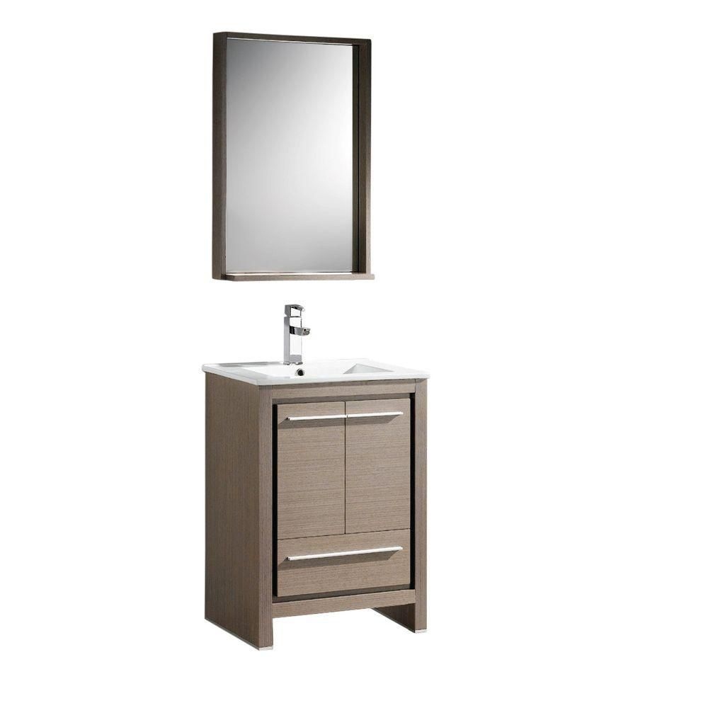 Allier 24-inch W Vanity in Grey Oak Finish with Mirror