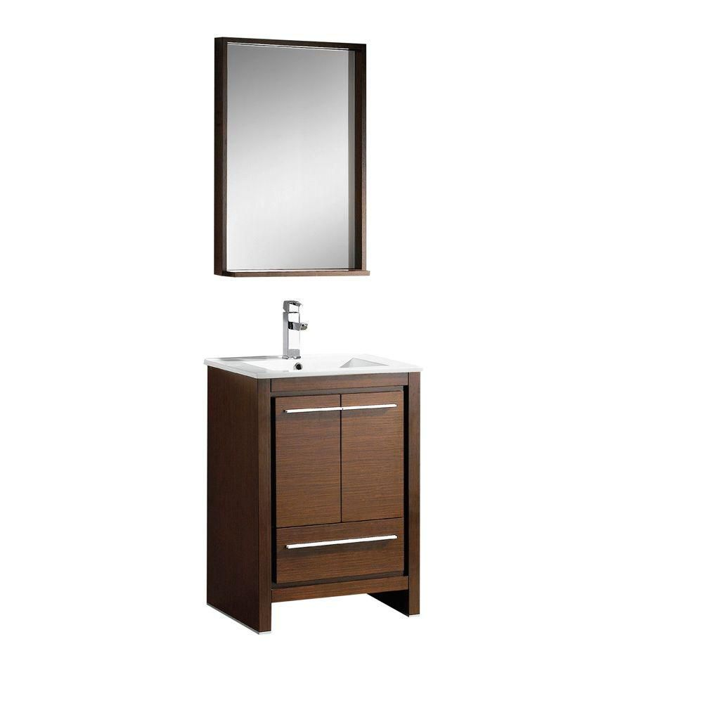 Fresca Allier 23.5-inch W 1-Drawer 2-Door Vanity in Brown With Ceramic Top in White With Faucet And Mirror