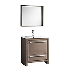 Allier 30-inch Vanity in Grey Oak with Ceramic Vanity Top in White with White Basin and Mirror
