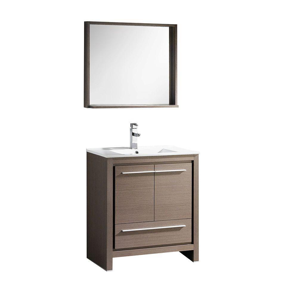 Allier 30-inch W Vanity in Grey Oak Finish with Mirror