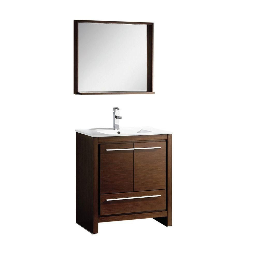 Allier 30-inch W Vanity in Wenge Brown Finish with Mirror