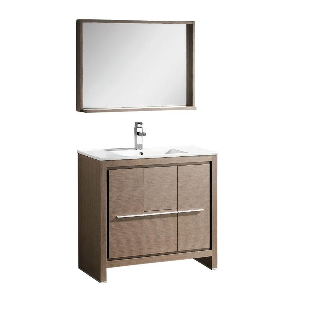 Fresca Allier 36 Inch W Vanity In Grey Oak Finish With Mirror The Home Depot Canada