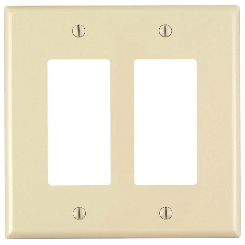 Decora 2-Gang Midway Nylon Wallplate, in Ivory
