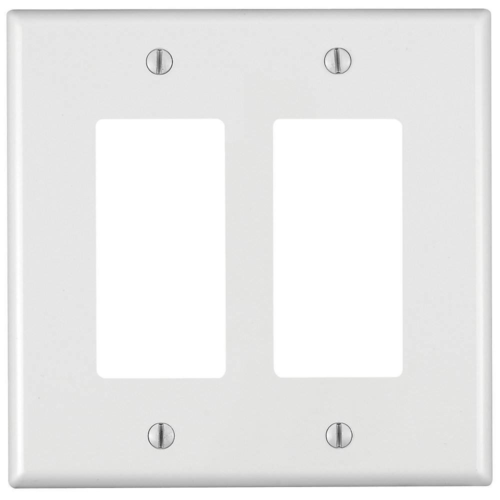 2-Gang Midway Nylon Wallplate, in White