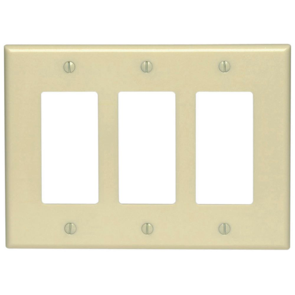 Decora 3-Gang Midway Nylon Wallplate, in Ivory