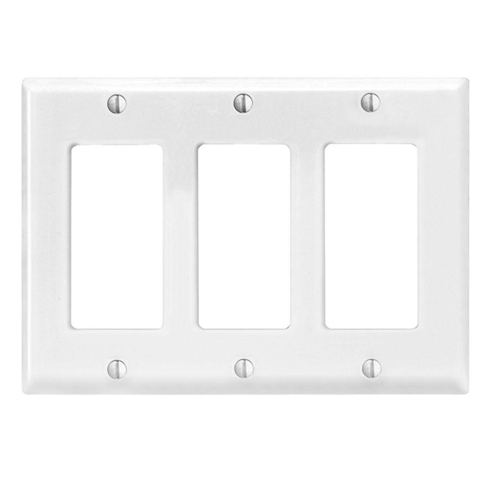 Plaque murale Decora de format intermédiaire en nylon pour trois dispositifs, en blanc