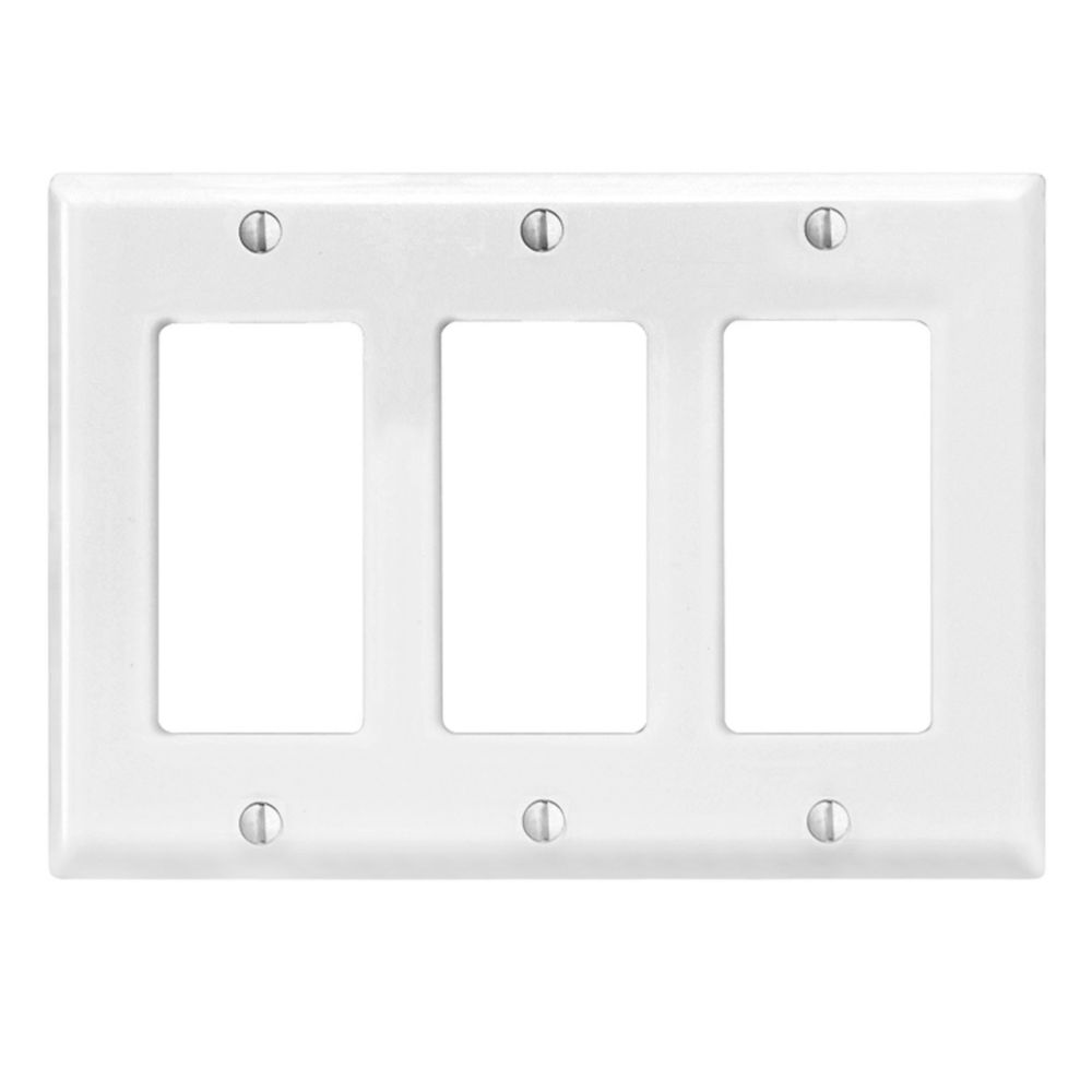 Decora 3-Gang Midway Nylon Wallplate, in White