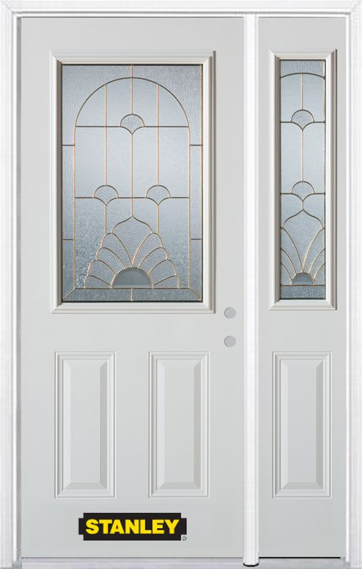 Stanley Doors 52.75 inch x 82.375 inch Florentine Brass 1/2 Lite 2-Panel Prefinished White Left-Hand Inswing Steel Prehung Front Door with Sidelite and Brickmould - ENERGY STAR®