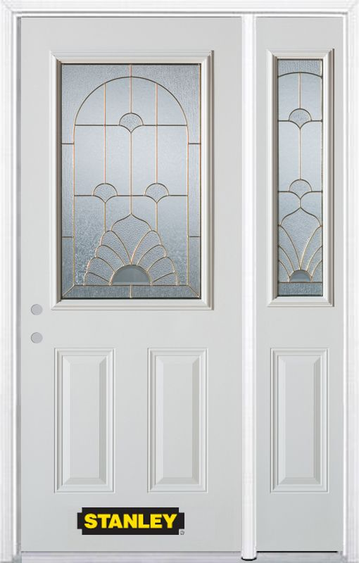Stanley Doors 50.25 inch x 82.375 inch Florentine Brass 1/2 Lite 2-Panel Prefinished White Right-Hand Inswing Steel Prehung Front Door with Sidelite and Brickmould