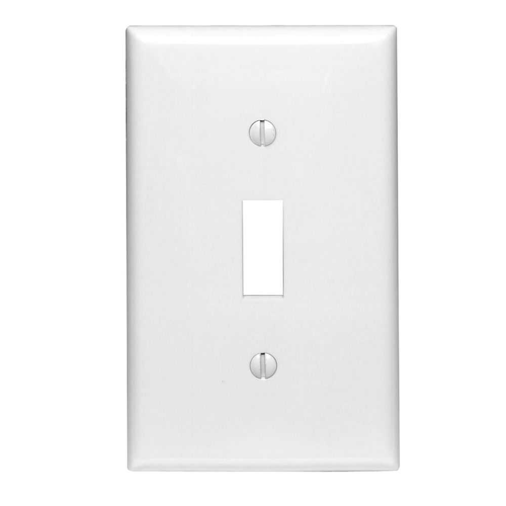 1-Gang Midway Nylon Toggle Switch Wallplate, in White