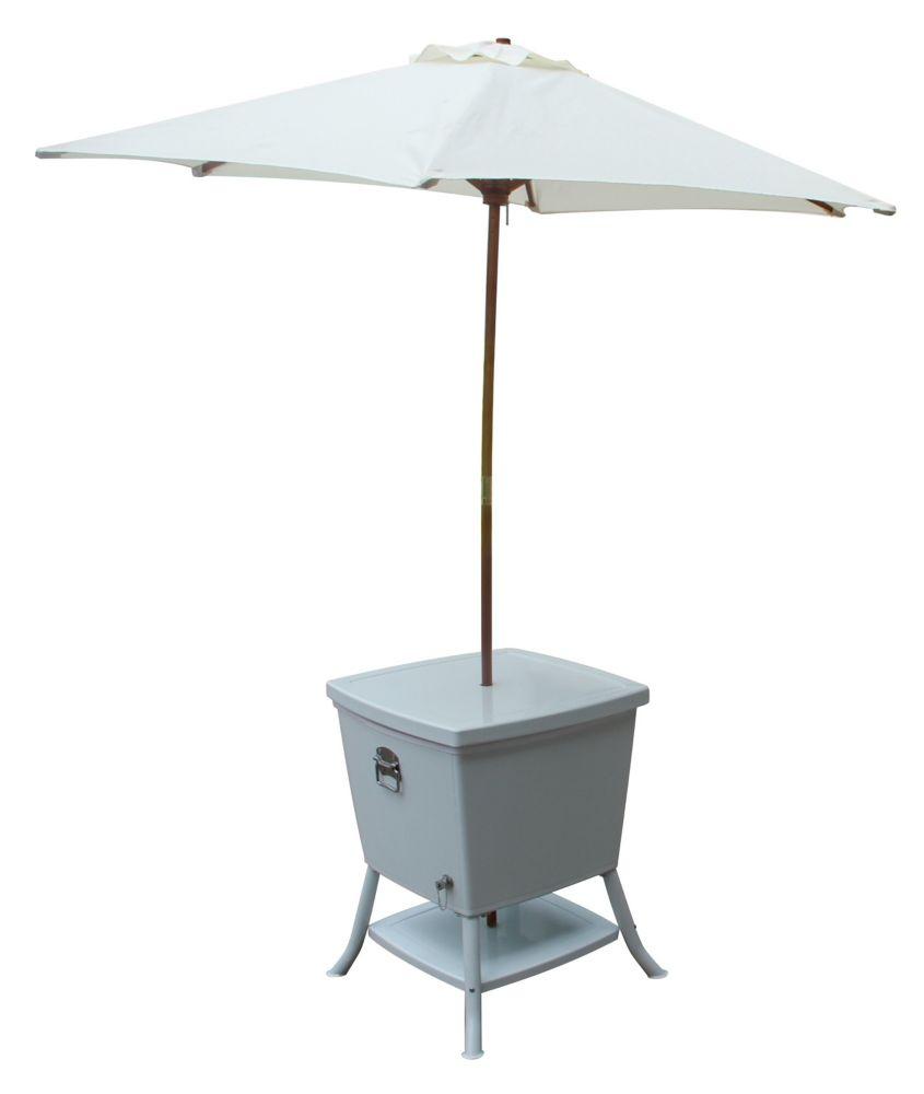 Leisure Season Cooler Table With Umbrella