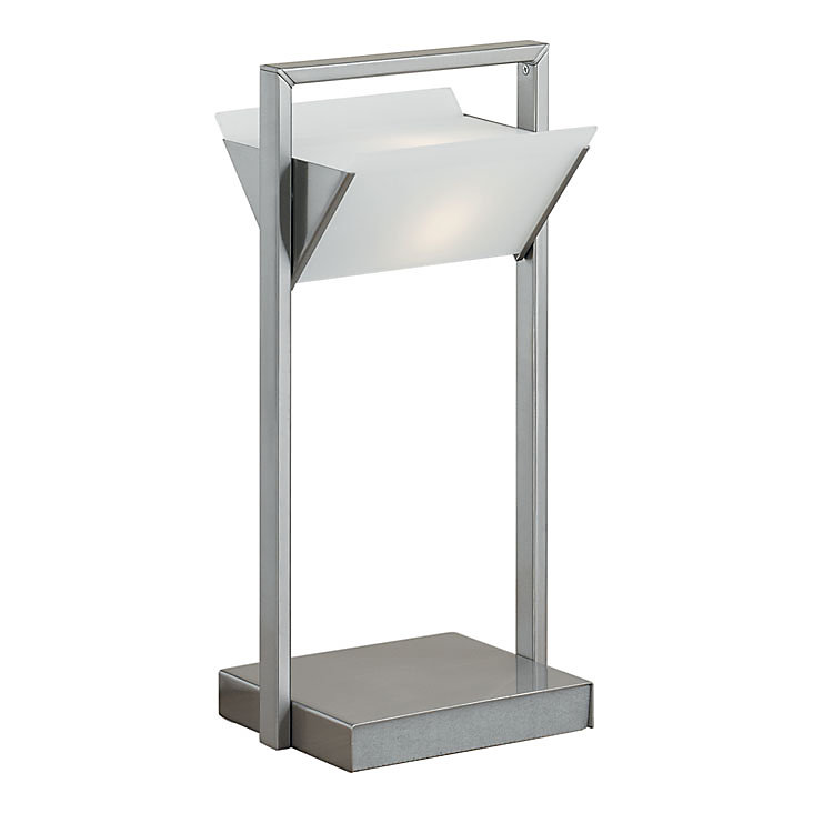 Triangolo 1 Light Table Lamp, Matte Nickel & chrome Finish with Frosted Glass