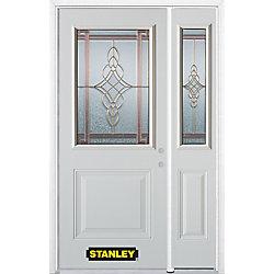 Stanley Doors Porte dentrée en acier préfini en blanc, munie d'un panneau et dun 1/2 verre, 51 po x 82 po avec panneaux latéraux et moulure de brique - ENERGY STAR®